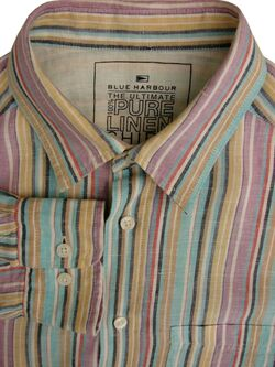 MARKS & SPENCER M&S BLUE HARBOUR ULTIMATE PURE LINEN Shirt Mens 16 M ROLL SLEEVE