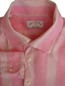 DELSIENA Shirt Mens 15 S Pink & White Stripes LINEN