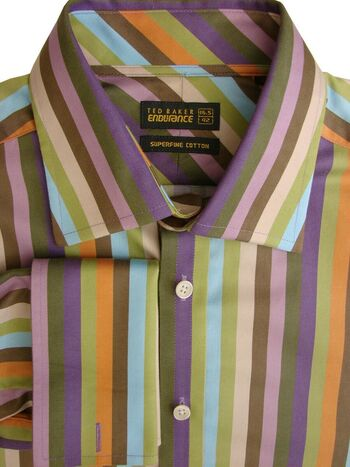 TED BAKER ENDURANCE Shirt Mens 16.5 L Multi-Colored Stripes