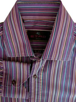 ETRO Shirt Mens 15 S Purple - Multi-Coloured Stripes