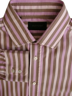 DUCHAMP LONDON Shirt Mens 16 L Pink & Brown Stripes