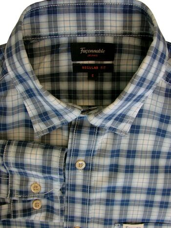 FACONNABLE JEANS Shirt Mens 15 S Blue & White Check REGULAR FIT LIGHTWEIGHT