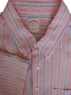 BROOKS BROTHERS 346 Shirt Mens 18 XXL Pink Blue White Stripes LINEN SHORT SLEEVE