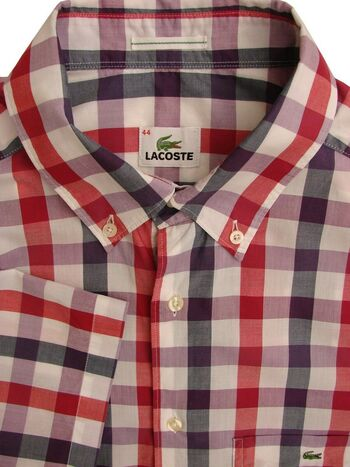 LACOSTE Shirt Mens 17 L Red & Multi-Coloured Check SHORT SLEEVE