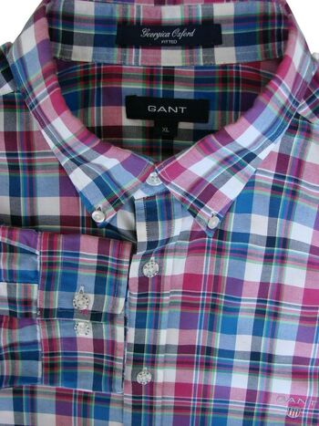 GANT Shirt Mens 17 XL Multi-Coloured Check GEORGICA OXFORD FITTED