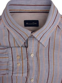 MASSIMO DUTTI Shirt Mens 16 M Light Blue - Brown Stripes LINEN