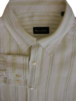 MASSIMO DUTTI Shirt Mens 17.5 XXL White - Light Green Stripes LINEN