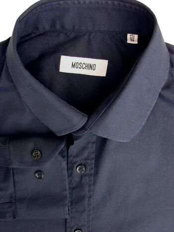 MOSCHINO Shirt Mens 15 M Dark Blue STRETCHY