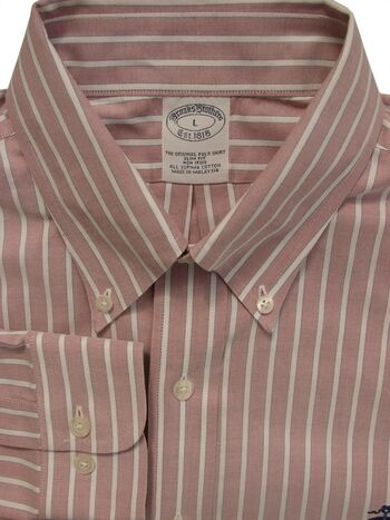 BROOKS BROTHERS Shirt Mens 16.5 L Pale Red - White Stripes SLIM FIT NON IRON