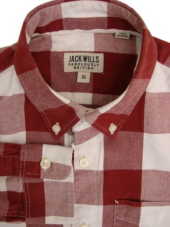 JACK WILLS Shirt Mens 14.5 S Red & White Patchwork