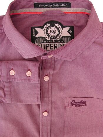 SUPERDRY Shirt Mens 16.5 Light Burgundy NEW