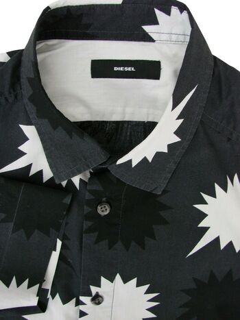 DIESEL Shirt Mens 15.5 M Black & White SHORT SLEEVE