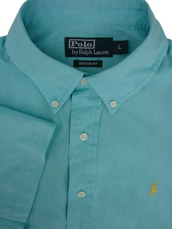 RALPH LAUREN POLO Shirt Men 16.5 L Turquoise CUSTOM FIT LIGHTWEIGHT SHORT SLEEVE