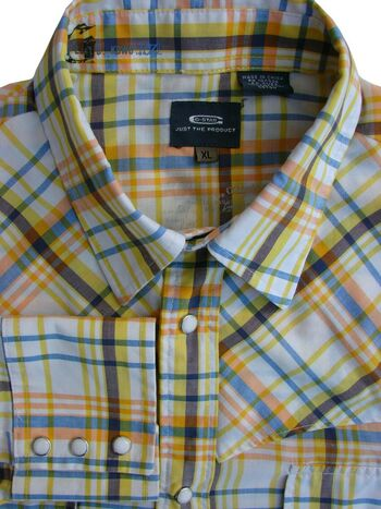 G-STAR RAW Shirt Mens 17 L White - Yellow Orange & Blue Check POPPERS