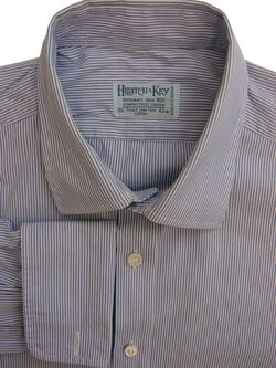 HILDITCH & KEY Shirt Mens 16.5 L Blue & White Stripes