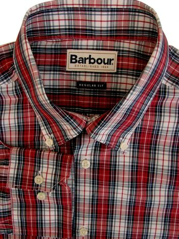 BARBOUR Shirt Mens 16.5 L Red & White Check REGULAR FIT NEW