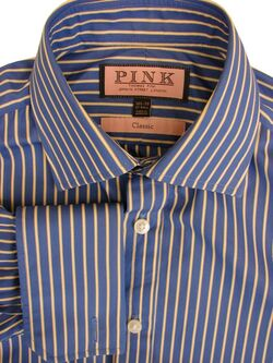 THOMAS PINK CLASSIC Shirt Mens 14.5 S Blue Yellow & White Stripes NEW