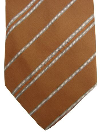 CORNELIANI Tie Brown - Blue & White Stripes