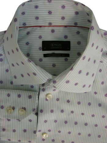 ETON Shirt Mens 16.5 L White - Purple Flowers CONTEMPORARY FIT