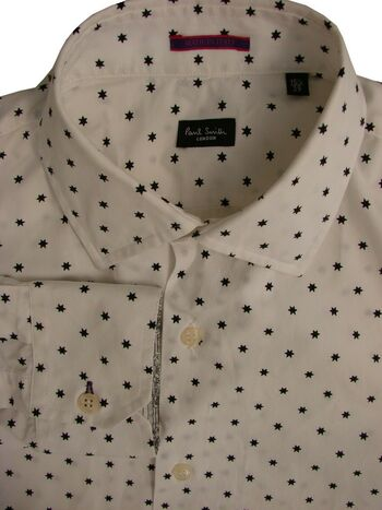 PAUL SMITH Shirt Mens 15.5 M White - Black Stars