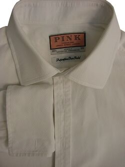 THOMAS PINK Shirt Mens 16 L White TUXEDO DRESS