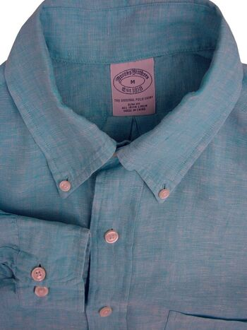 BROOKS BROTHERS Shirt Mens 15 M Turquoise LINEN SLIM FIT