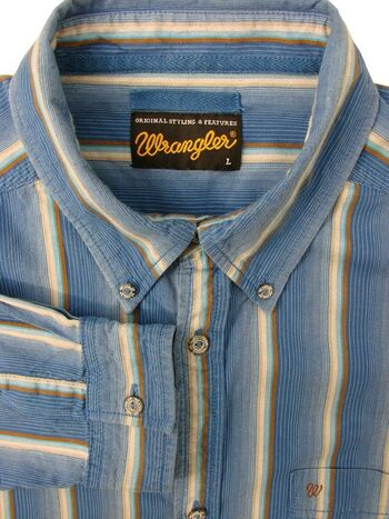 WRANGLER Shirt Mens 17 L Blue - Stripes