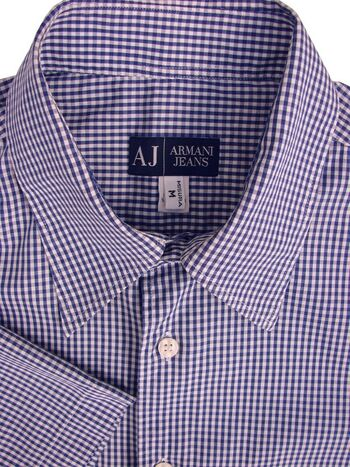 ARMANI JEANS Shirt Mens 16 M Blue & White Gingham Check SHORT SLEEVE