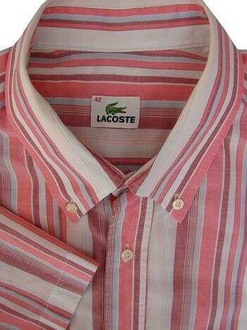 LACOSTE Shirt Mens 16.5 L White Pink & Blue Stripes LIGHTWEIGHT SHORT SLEEVE
