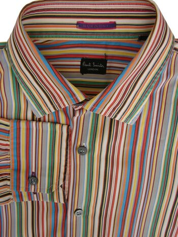 PAUL SMITH Shirt Mens 15 S Multi-Coloured Stripes