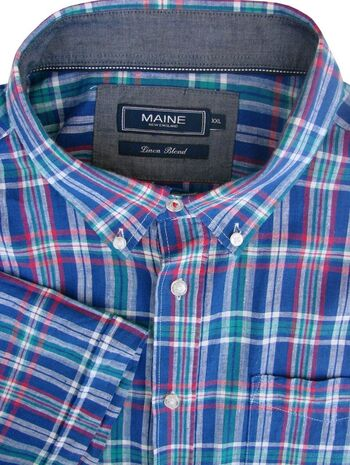 MAINE NEW ENGLAND Shirt Mens 19.5 XXL 2XL Blue - Check LINEN BLEND SHORT SLEEVE