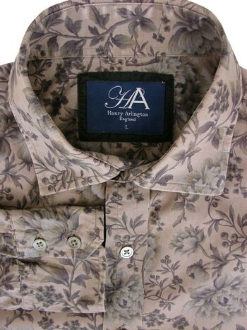 HENRY ARLINGTON Shirt Mens 16 L Brown - Flowers LIGHTWEIGHT