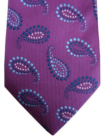TURNBULL & ASSER EXCLUSIVE Mens Tie Purple - Blue & Black Beaded Tear Drops