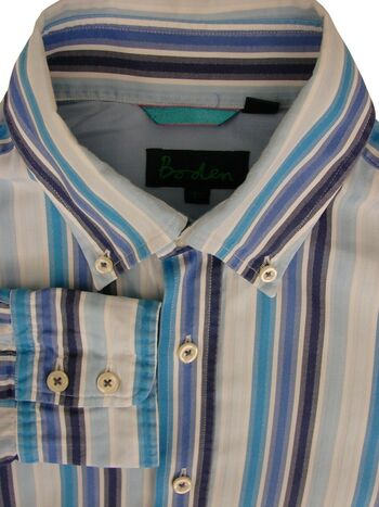 BODEN Shirt Mens 15.5 M Variety Of Blue Stripes
