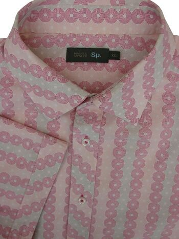 MARKS & SPENCER M&S Shirt Mens 19 XXL 2XL Concentric Polka Dots SHORT SLEEVE NEW