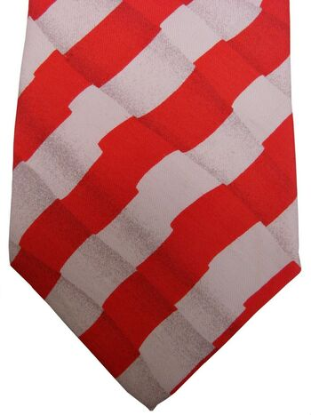 HUGO BOSS Mens Tie Red & White Optical Illusion