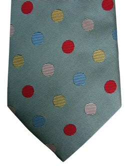 ETRO Mens Tie Green - Multicoloured Polka Dots
