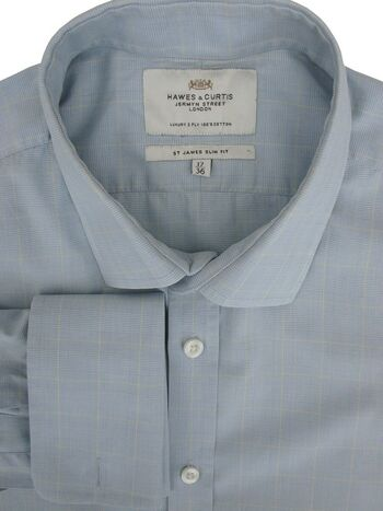 HAWES & CURTIS Shirt Mens 16.5 L Blue - Yellow Check