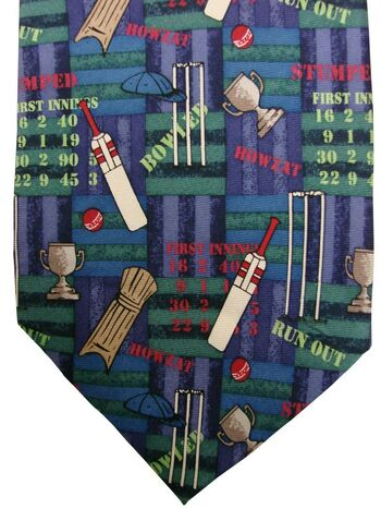 MAG MOUCH Mens Tie Blue & Green - Cricket NEW