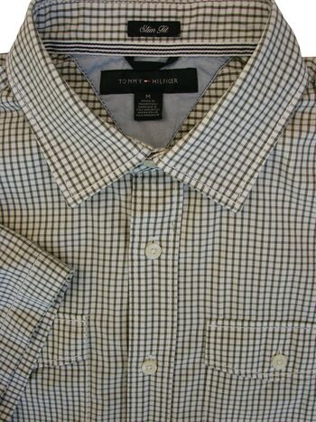 TOMMY HILFIGER Shirt Mens 16 M Dark Green Check SLIM FIT SHORT SLEEVE NEW