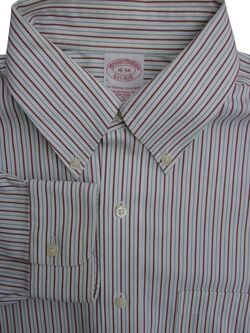 BROOKS BROTHERS Shirt Mens 16 M Red & Blue Stripes TRADITIONAL FIT NON IRON