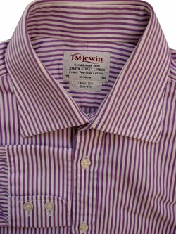TM LEWIN 100 Shirt Mens 15 S Purple & White Stripes - TEXTURED SLIM FIT