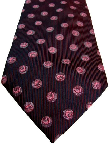 SAVOY TAYLORS GUILD Mens Tie Dark Blue & Red - Pink Polka Dots