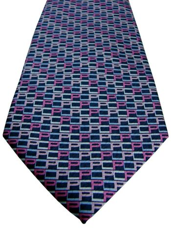 PIERRE CARDIN Mens Tie Multi-Coloured Initials NEW