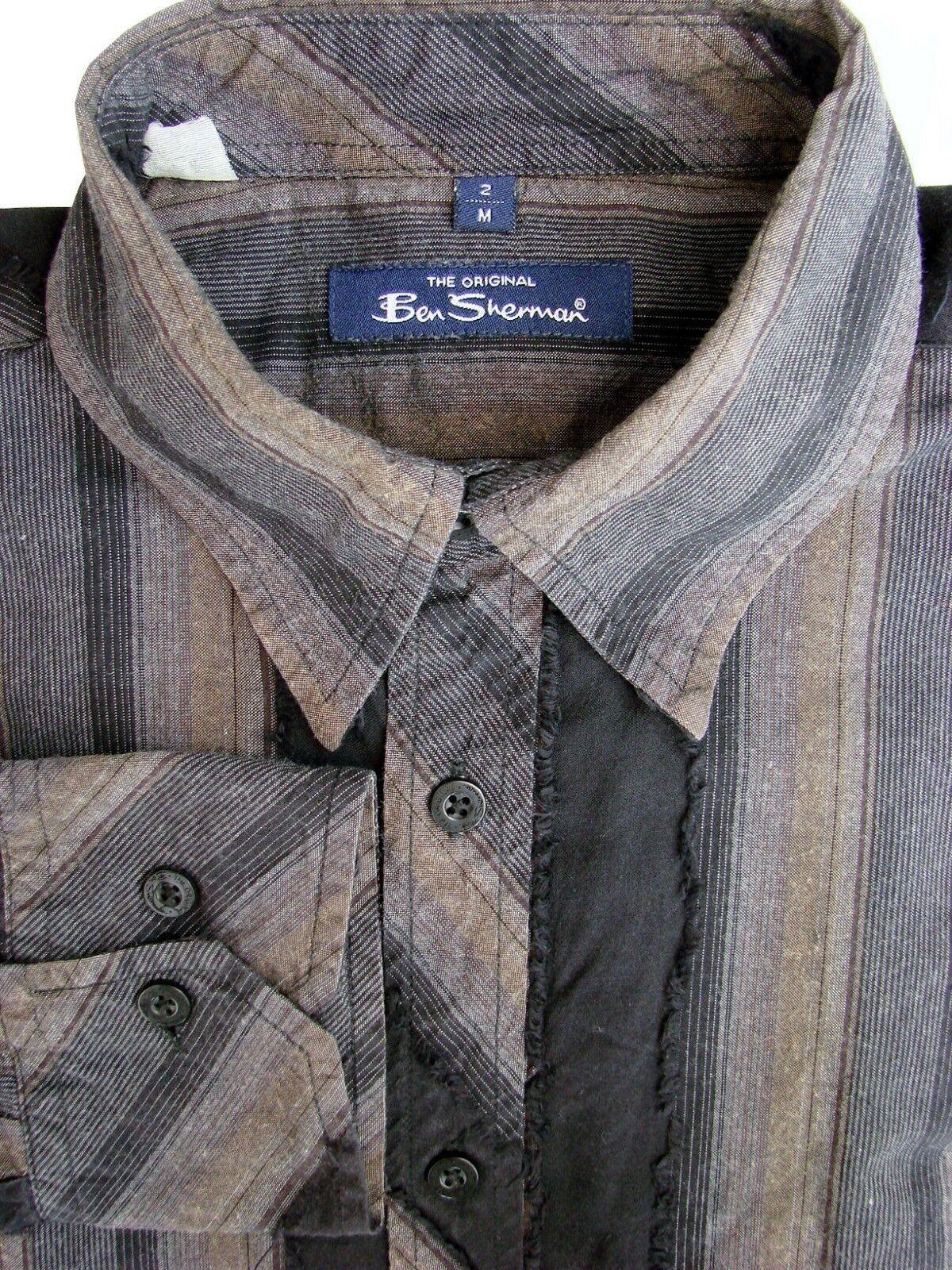 9e80d5c198 BEN SHERMAN Shirt Mens 15 M Black Grey   Brown Stripes - TEXTURED ...