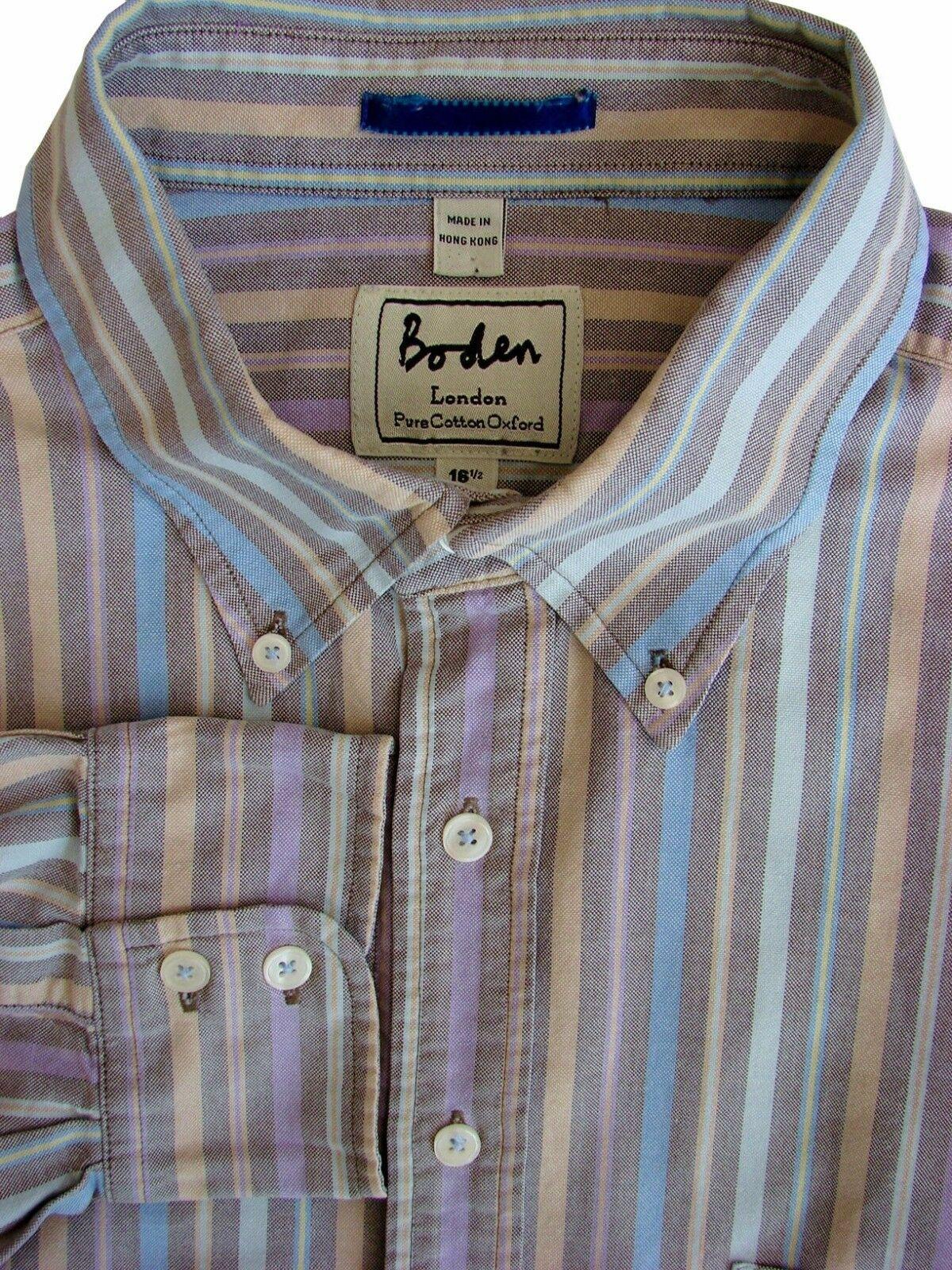 436d74269c BODEN Shirt Mens 17 L Multi-Coloured Stripes - Brandinity