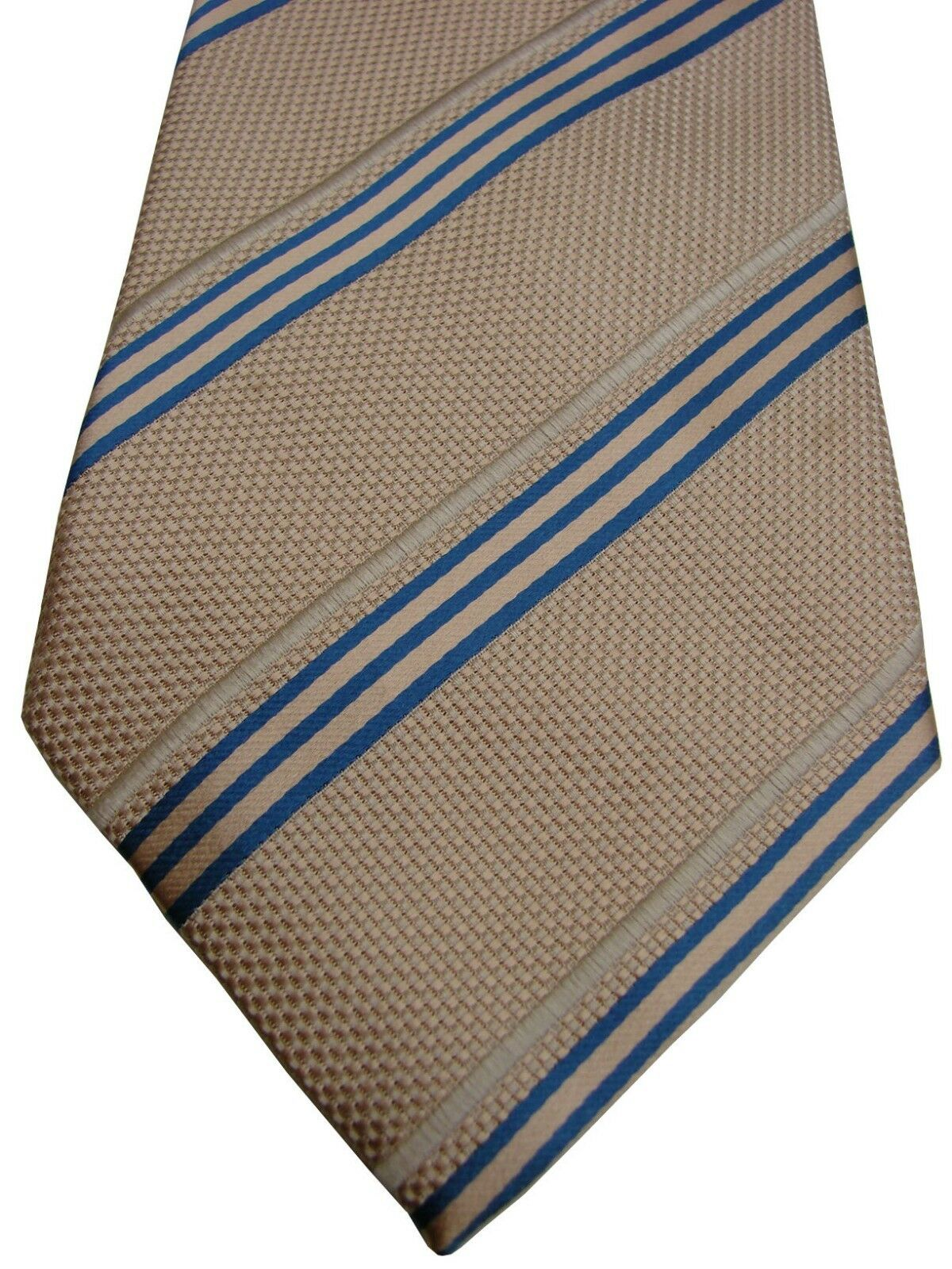 Austin Reed Mens Tie Beige Blue White Stripes Brandinity